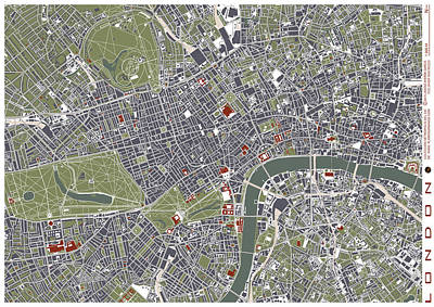 Tower Of London Digital Art - London Engraving Map by Jasone Ayerbe- Javier R Recco