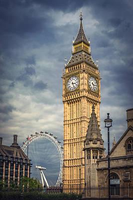 London Eye Photograph - London Eye And Big Ben by Carlo Fazio