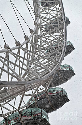 London Eye And Snow Art Print