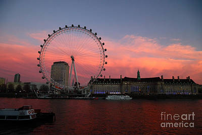 London Eye And South Bank At Sunset Art Print by James Brunker