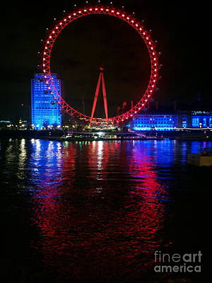 London Eye At Night Art Print by Hanza Turgul