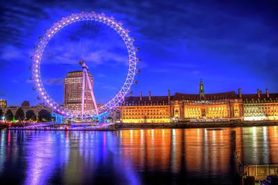 London Eye At Night Art Print by Sharon Sanowar