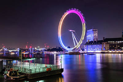 Photograph - London Eye By Night by Jacek Wojnarowski