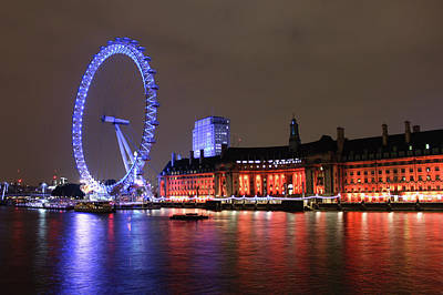 London Eye By Night Art Print by RKAB Works