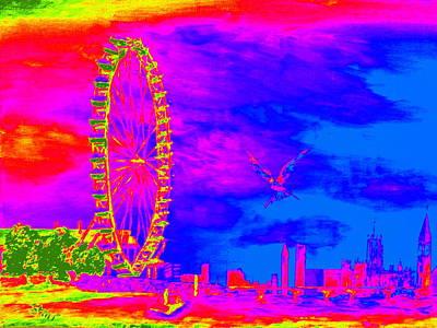 London Skyline Paintings - London Eye Colors by Irving Starr