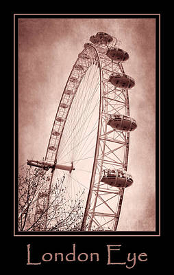 London Eye Photograph - London Eye Copper Poster by Joan Carroll