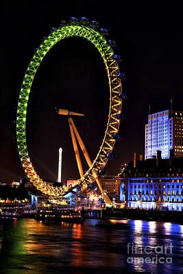 Photograph - London Eye Green And Orange by John Rizzuto
