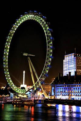 Photograph - London Eye Green by John Rizzuto