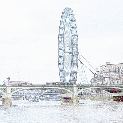 London Eye Digital Art - London Eye In Pencil by Sharon Lisa Clarke