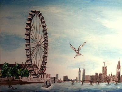 London Skyline Painting - London Eye by Irving Starr