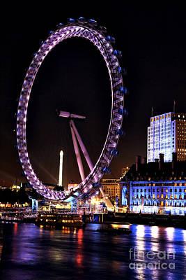 Photograph - London Eye Purple by John Rizzuto