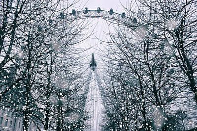London Eye Photograph - London Eye Snow by Martin Newman