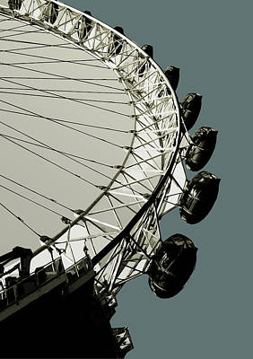 London - Eye - Soft Blue Greys  Art Print by Big Fat Arts