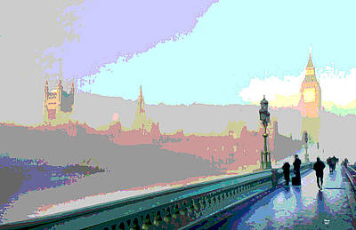 Tower Of London Mixed Media - London Fog by Charles Shoup