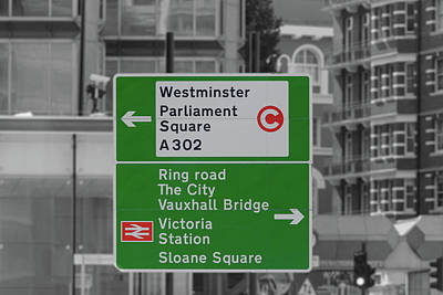Photograph - London Green Direction Road Sign by Jacek Wojnarowski