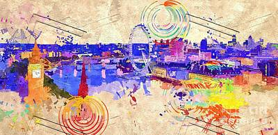 London Skyline Mixed Media - London Grunge Skyline by Daniel Janda