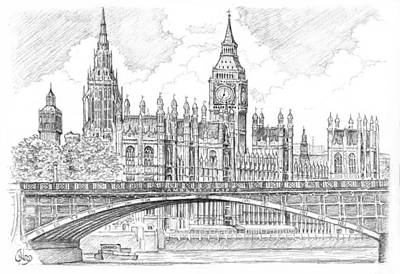 Big Ben Drawing - London Houses Of Parliament by Vlado Ondo