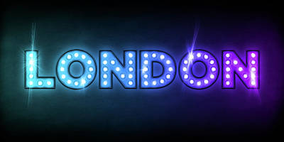 Names Digital Art - London In Lights by Michael Tompsett