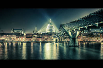 St Pauls London Photograph - London Landmarks By Night by Araminta Studio - Didier Kobi