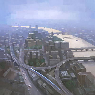 London Painting - London, Looking West From The Shard by Steve Mitchell