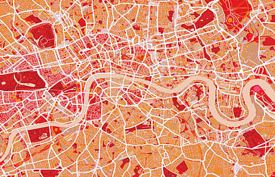 London Map Art Red Art Print by Michael Tompsett