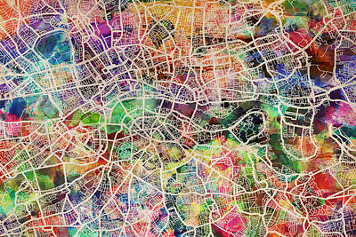 England Digital Art - London Map Art Watercolor by Michael Tompsett