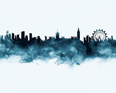 London Skyline Mixed Media - London by Monn Print