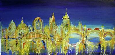 London Skyline Paintings - London Night Scene Print by Irina Rumyantseva