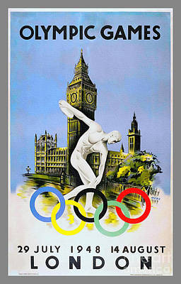 Painting - London Olympics 1948 Vintage Poster by Ian Gledhill