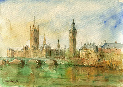 Big Ben Wall Art - Painting - London Parliament by Juan  Bosco