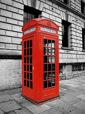 Black And White Photograph - London Phone Booth by Rhianna Wurman