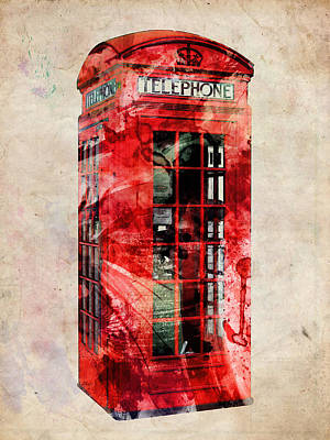 Great Britain Digital Art - London Phone Box Urban Art by Michael Tompsett