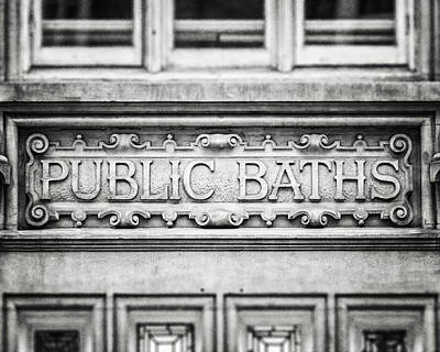Photograph - London Photography Public Baths Black And White  by Lisa Russo