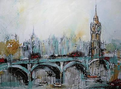 London Skyline Paintings - London Print by Irina Rumyantseva