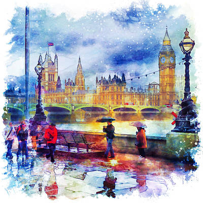 Umbrellas Mixed Media - London Rain Watercolor by Marian Voicu