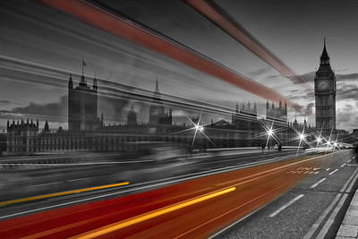 Dark Photograph - London Red Bus by Melanie Viola