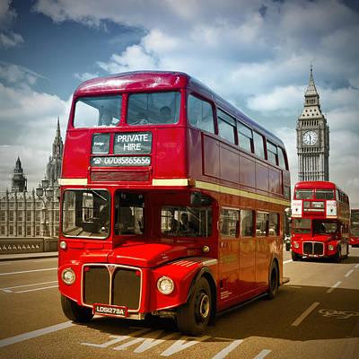 Bus Photograph - London Red Buses On Westminster Bridge IIi by Melanie Viola
