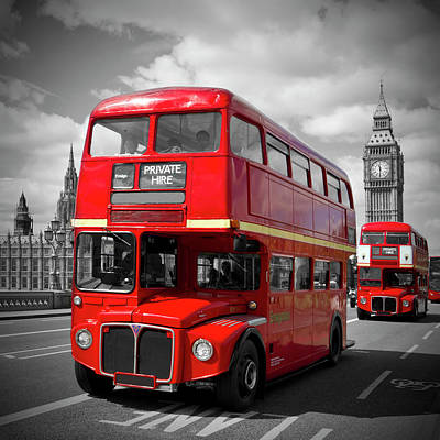 Big Ben Photograph - London Red Buses On Westminster Bridge by Melanie Viola