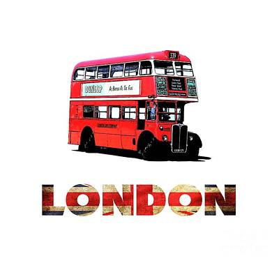 Double Drawing - London Red Double Decker Bus Tee by Edward Fielding