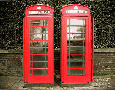 London Phone Booth Photograph - London Red Phone Booths by Sonja Quintero