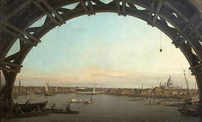 Cities Seen Painting - London Seen Through An Arch Of Westminster Bridge by Canaletto