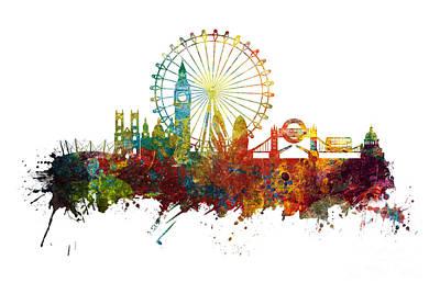 London Skyline Digital Art - London sightseeing skyline by Justyna JBJart