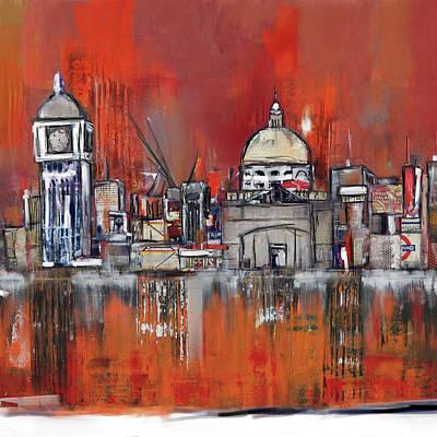 Shards Painting - London Skyline 197 2 by Mawra Tahreem