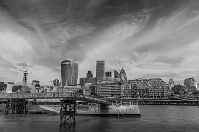 London Skyline Photograph - London Skyline And Hms Belfast by Georgia Fowler
