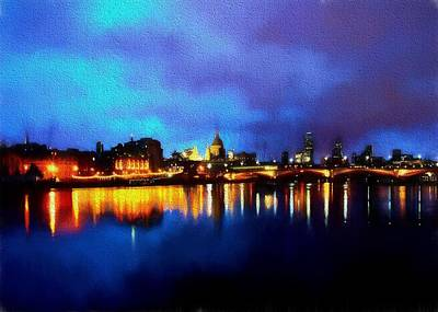 Digital Art - London Skyline At Night by Charmaine Zoe
