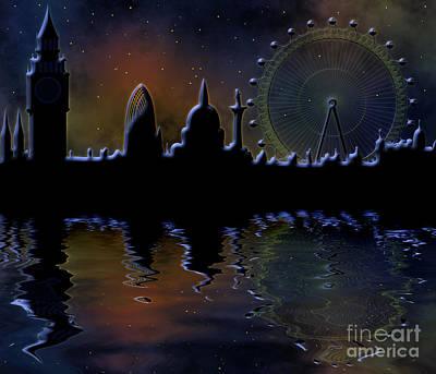 Belfry Digital Art - London Skyline At Night by Michal Boubin