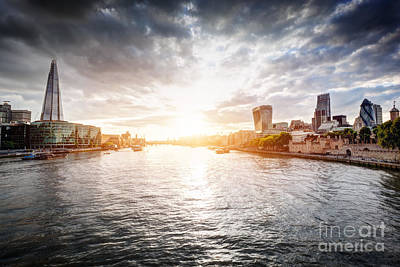 Panoramic Photograph - London Skyline At Sunset, England The Uk. River Thames, The Shard, City Hall by Michal Bednarek