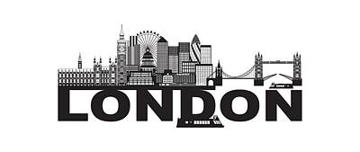 Photograph - London Skyline Black And White Text Illustration by Jit Lim