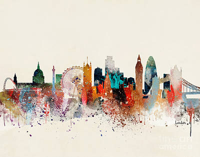 London Skyline Painting - London Skyline by Bleu Bri