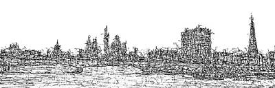 London Skyline Drawing - London Skyline by Brian Keating